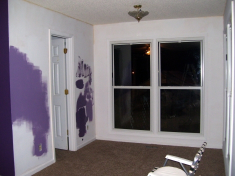 During - walls are primed and ready to paint. Purple is such a hard color to get exactly right. I tried several different colors until I got just what I wanted.