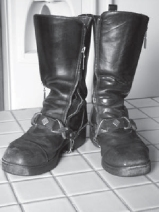 Shelley's worn out boots.